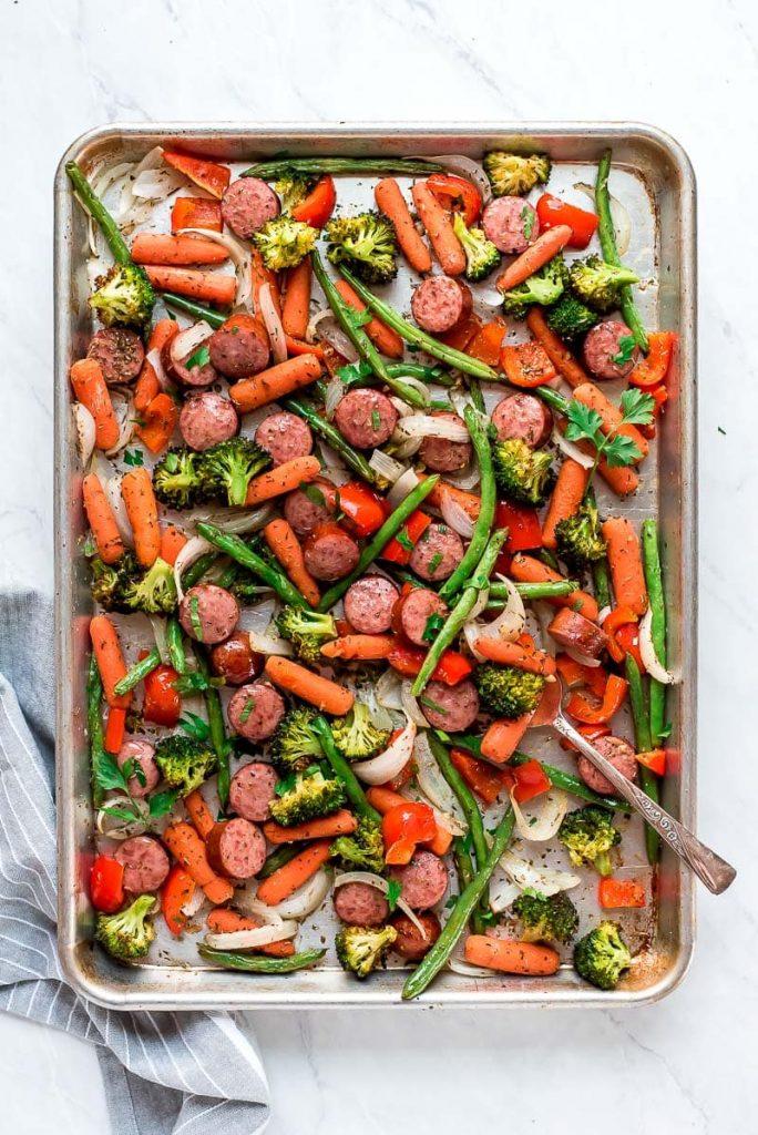 Sheet Pan Roasted Veggies & Sausage