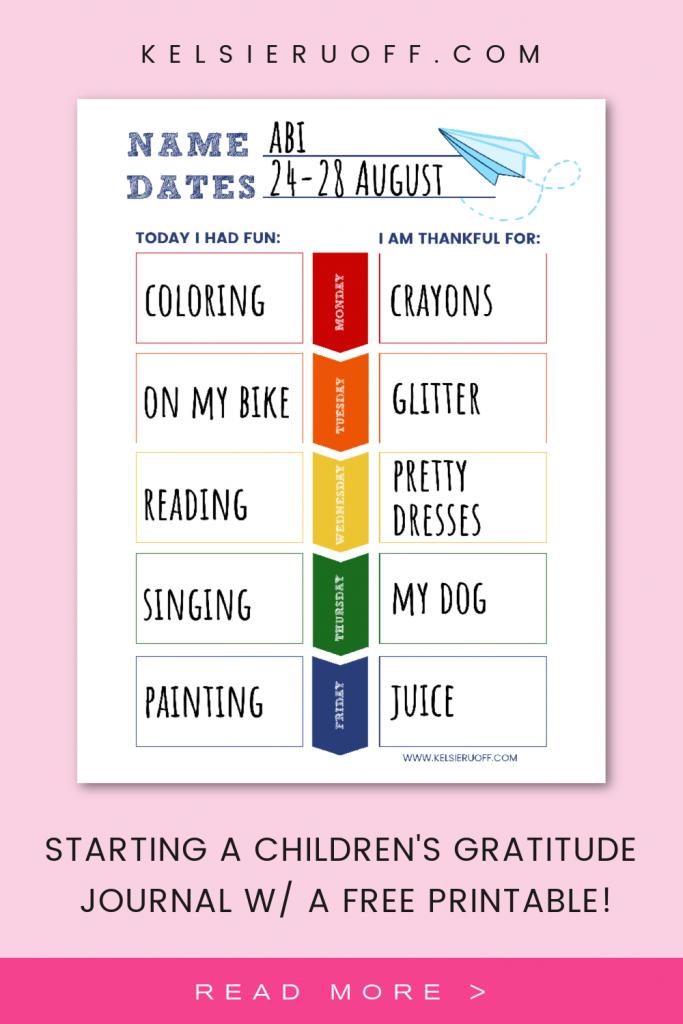 Children's Gratitude Journal