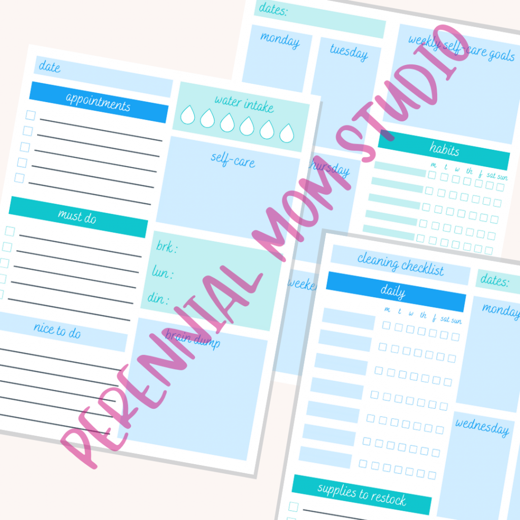 Blue Printable Planner Pages for Moms