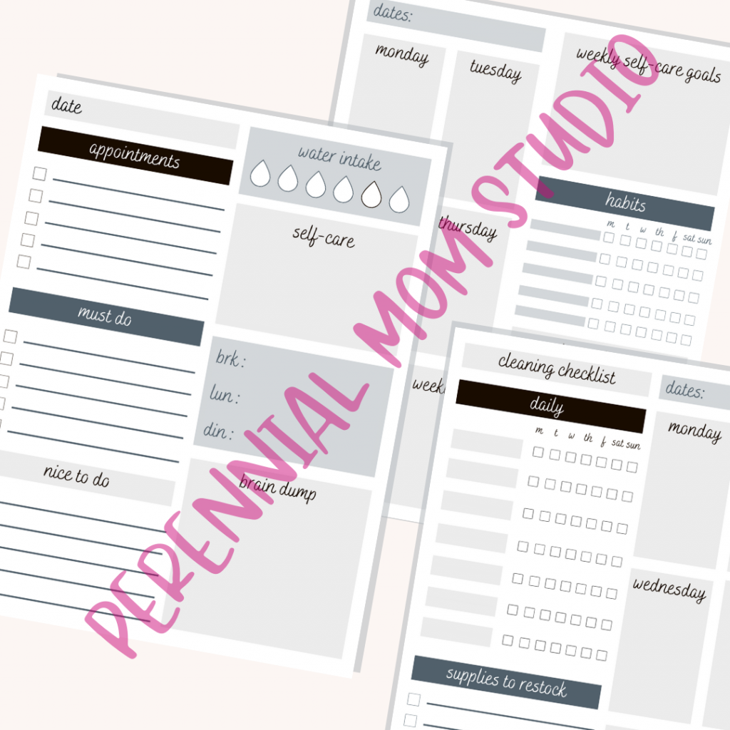 Black and White Printable Planner Pages for Moms