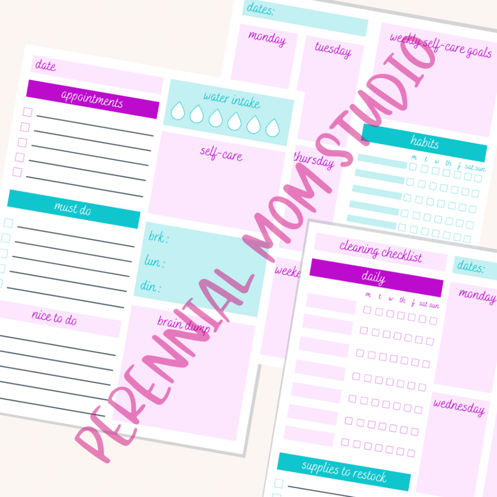 Purple Printable Planner Pages for Moms