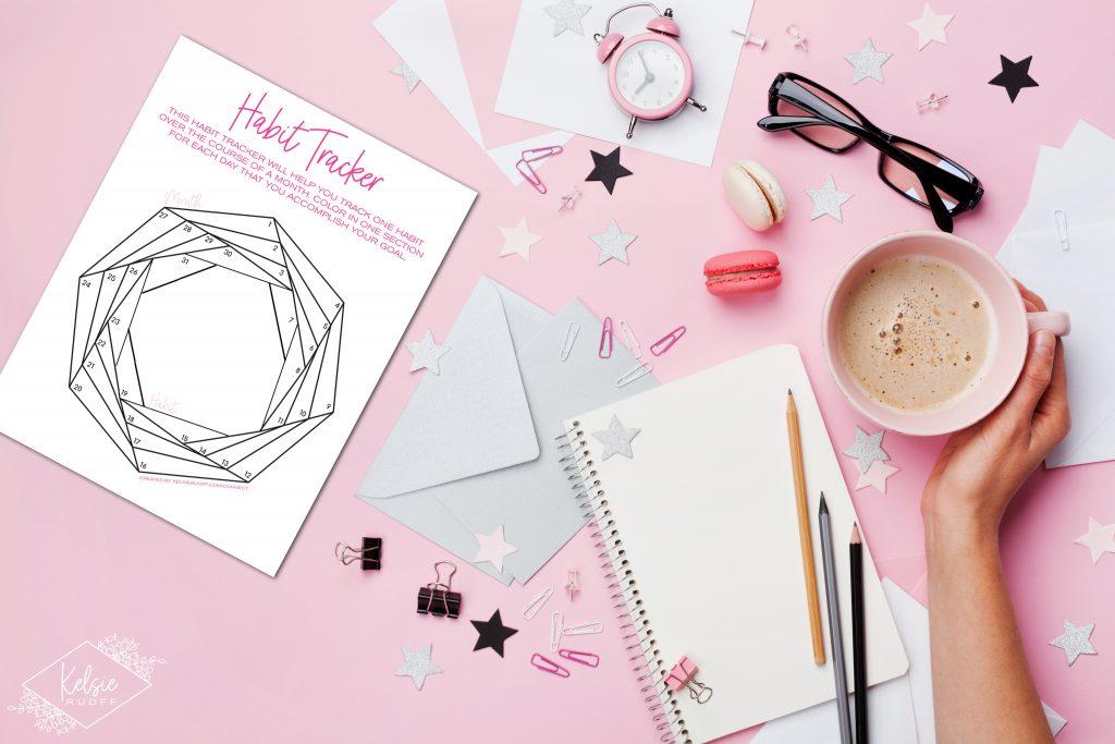Habit Tracker on a Pink Desk